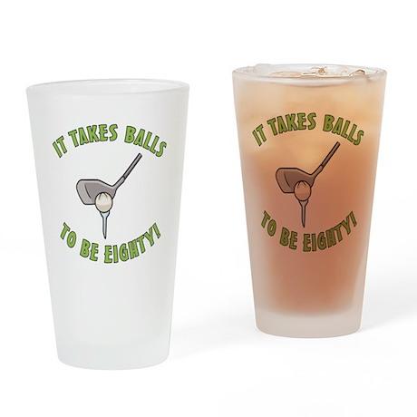 80th Birthday Golfing Gag Drinking Glass