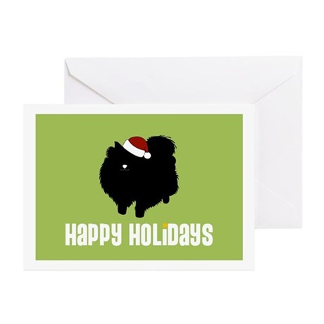 """Pomeranian """"Santa Hat"""" Greeting Cards (Package of"""