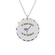 70th Birthday Golfing Gag Necklace Circle Charm