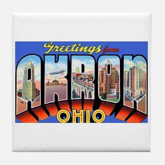 Akron Ohio Greetings Tile Coaster