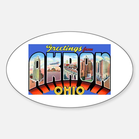 Akron Ohio Greetings Oval Decal