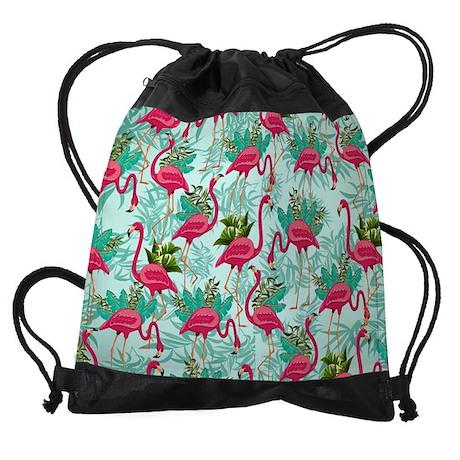 Pink Flamingos Fabric Pattern Drawstring Bag