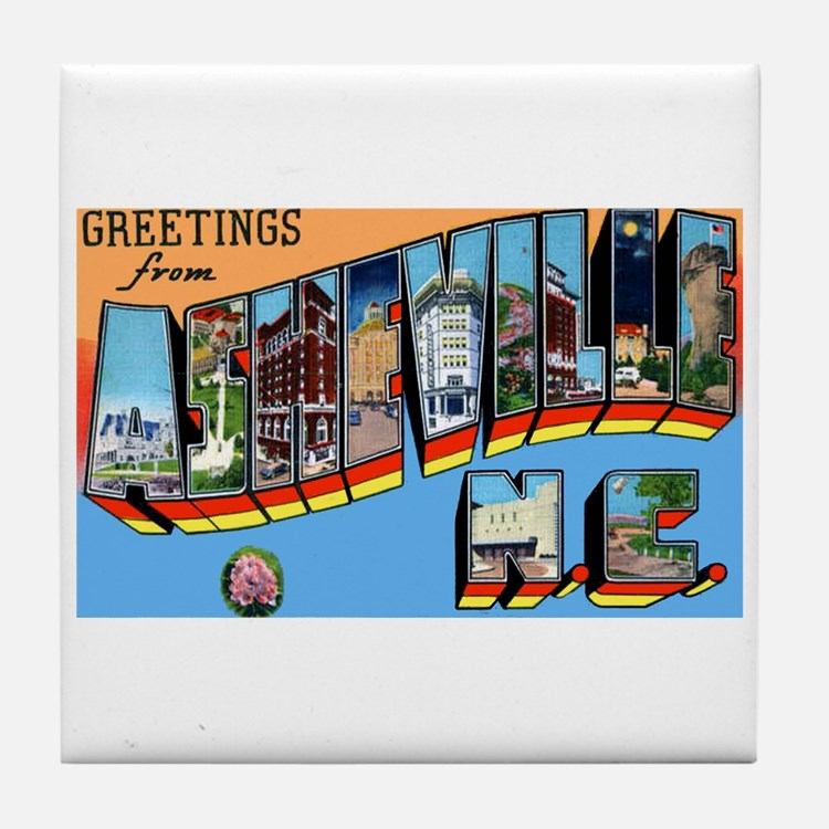 Asheville North Carolina Greetings Tile Coaster