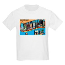 Asheville North Carolina Greetings (Front) Kids T-