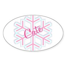 Cate Snowflake Personalized Oval Decal