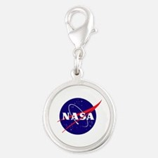 NASA Meatball Logo Silver Round Charm