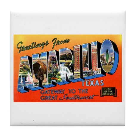 Amarillo Texas Greetings Tile Coaster