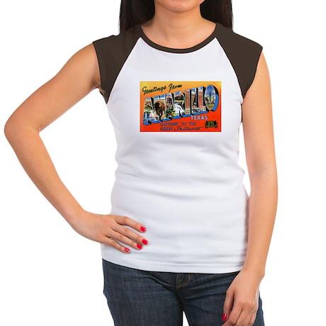 Amarillo Texas Greetings (Front) Women's Cap Sleev