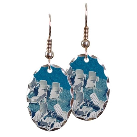 Sunloungers in a swimming pool earring by admin cp for Terry pool design jewelry