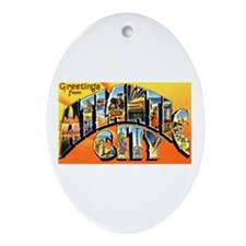 Atlantic City New Jersey Greetings Oval Ornament