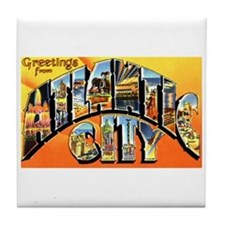 Atlantic City New Jersey Greetings Tile Coaster