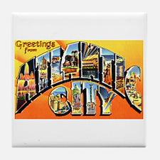 Atlantic City New Jersey Greetings Tile Coaster