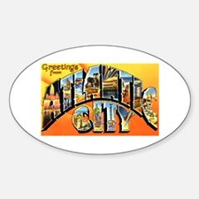 Atlantic City New Jersey Greetings Oval Decal