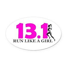 Run Like a Girl Oval Car Magnet
