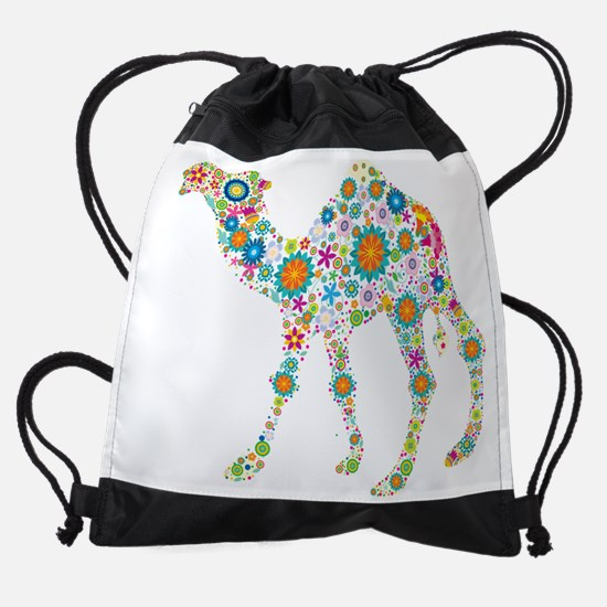 Cool Colorful Retro Floral Camel Drawstring Bag