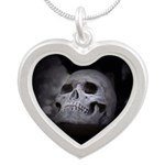 Scary Skull Silver Heart Necklace