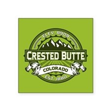 "Crested Butte Green Square Sticker 3"" x 3"""