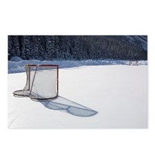 hockey net on outdoor ice Postcards (Package of 8)