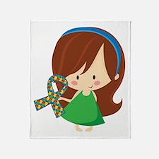 Autism Awareness Girl Throw Blanket