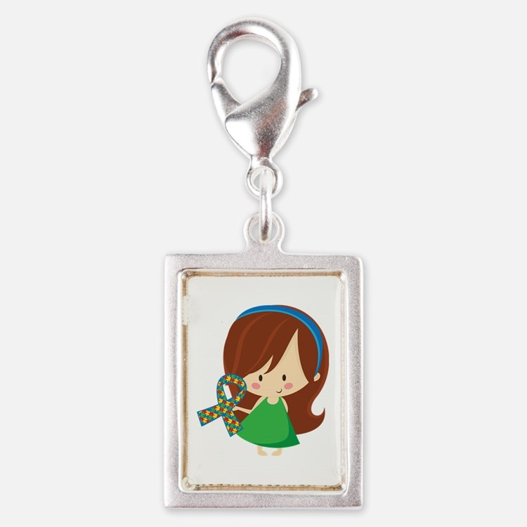 Autism Awareness Girl Silver Portrait Charm