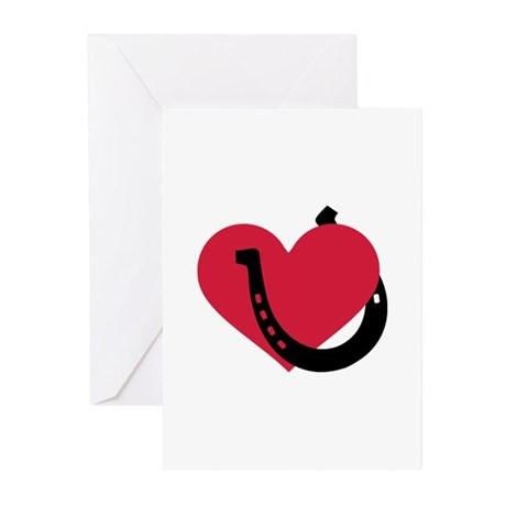 Horseshoe red heart Greeting Cards (Pk of 20)