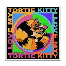 Tortie Kitty Cat Graphics Tile Coaster