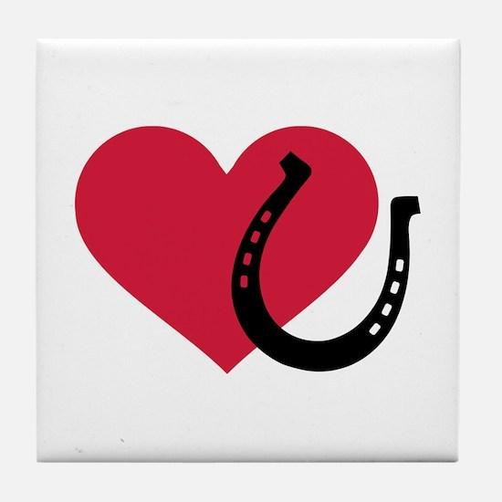 Horseshoe red heart Tile Coaster