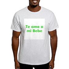 Te amo a mi Bebe Ash Grey T-Shirt