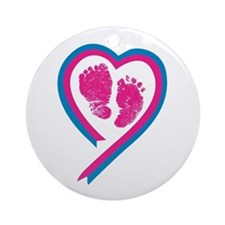 Pink Footprint Ribbon Ornament (Round)