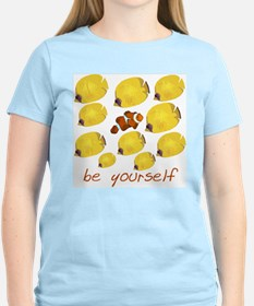 be yourself Women's Pink T-Shirt