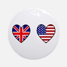 Union Jack / USA Heart Flags Ornament (Round)