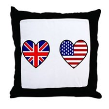 Union Jack / USA Heart Flags Throw Pillow