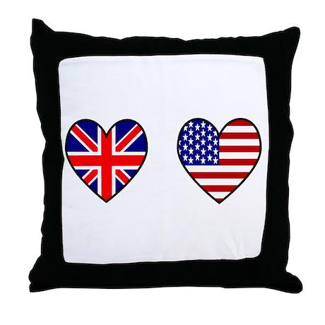 Union Jack / USA Heart Flags Throw Pillow