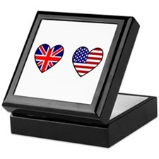 Union Jack / USA Heart Flags Keepsake Box