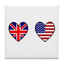 Union Jack / USA Heart Flags Tile Coaster