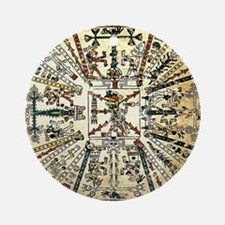 Xiuhtecuhtli Aztec Death God Ornament (Round)
