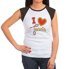 I Heart Tennis Women's Cap Sleeve T-Shirt