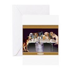 dogsflipcupwht Greeting Cards