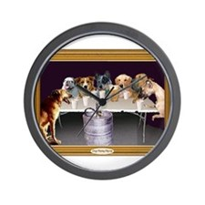 Unique Dogs playing poker Wall Clock