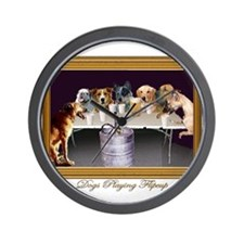 Funny Dogs playing poker Wall Clock