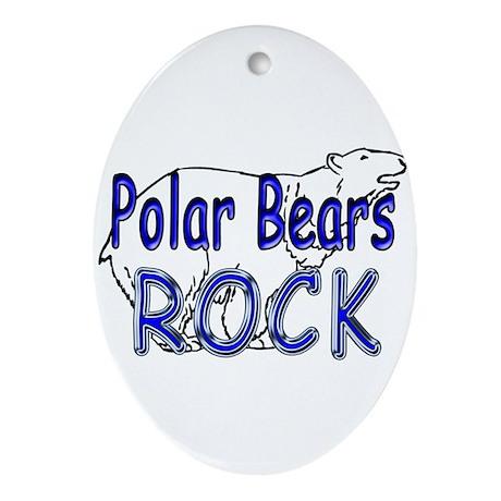 Polar Bears Rock Oval Ornament