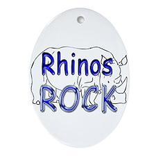 Rhinos Rock Oval Ornament