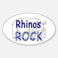 Rhinos Rock Oval Decal