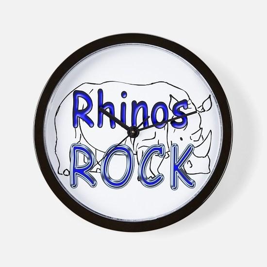 Rhinos Rock Wall Clock