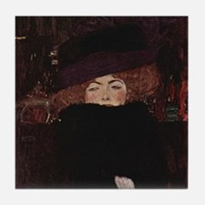 Klimt Art Tile Coaster Lady w Hat and Feather Boa