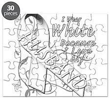 I Wear White Because I Love My Husband Puzzle