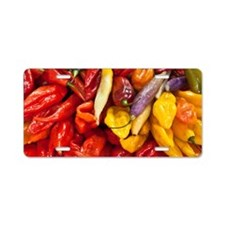 Peppers in a market in Lima Aluminum License Plate