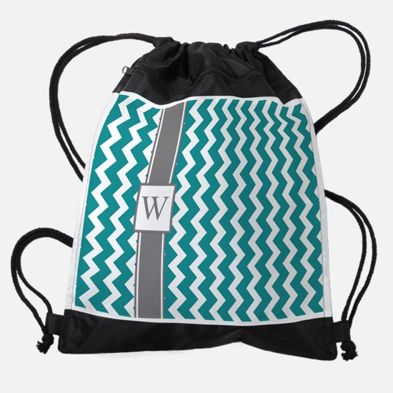 Teal Grey Chevron Monogram Drawstring Bag