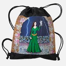 greendress.jpg Drawstring Bag