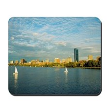 Sailboats in a river, Charles River, Bost Mousepad